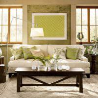 Зеленый цвет в оформлении гостиной
