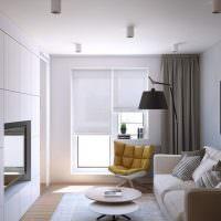Дизайн узкой гостиной с одним окном