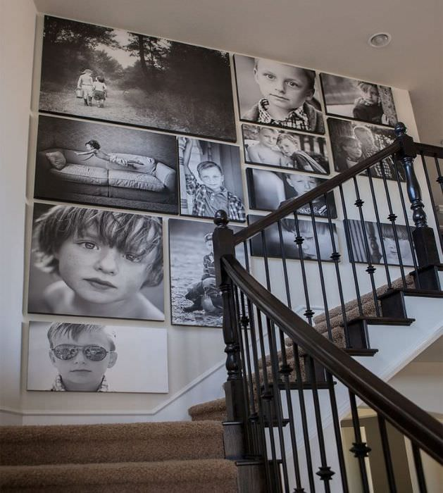 Декорирование фотографиями стены лестничного марша