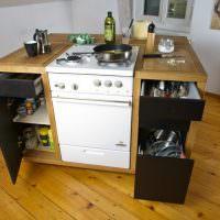 Мобильная кухня остров с газовой плитой