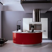 Красный фасад кухонной мебели