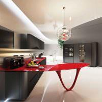 Дополнительный столик красного цвета