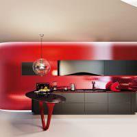 Красная кухня в стиле минимализма