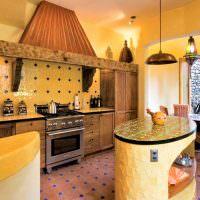 Кухонный остров овальной формы