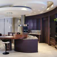 Многоуровневый потолок в дизайне кухни