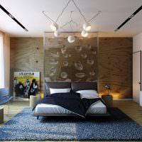 Оригинальные светильники на потолке спальни