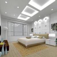 Белый свет в современной спальне