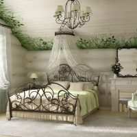 Обустройство спальни в мансарде частного дома