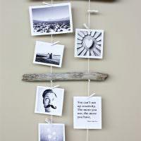 Подвеска фотоснимков на деревянных палочках