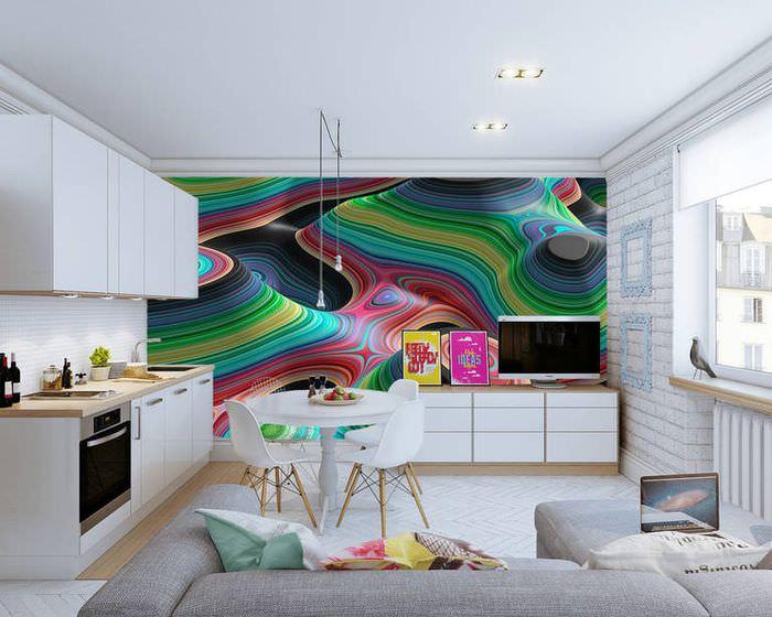 Модная кухня с фотообоями на стене