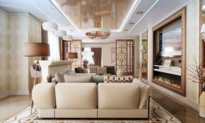 Интерьер вытянутой гостиной в стиле современного модерна
