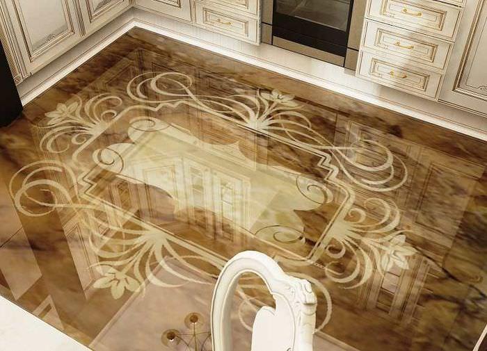 Наливной пол на кухне классического стиля
