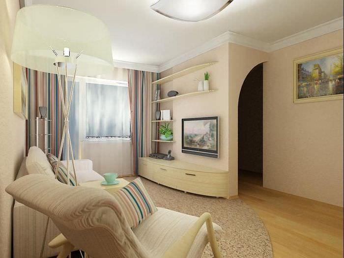 Дизайн гостиной в панельной хрущевке