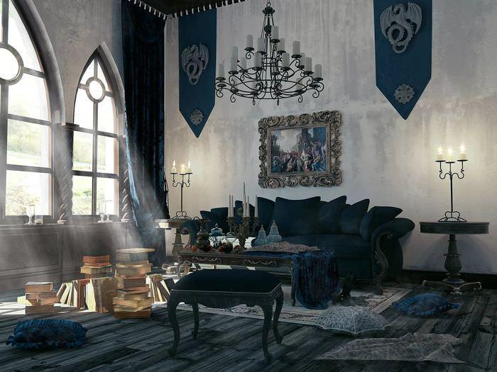 Приглушенное освещение гостиной в готическом стиле