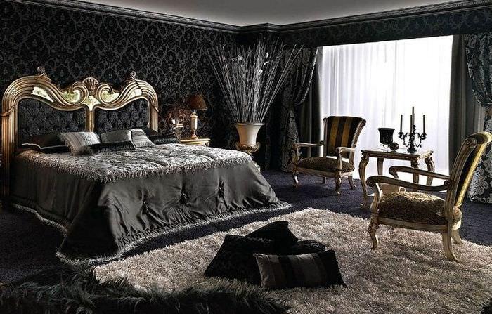 Светлый ковер в спальне готического стиля