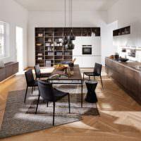 Идея оформления интерьера просторной кухни