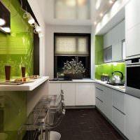 Зеленый цвет в интерьере узкой кухни