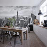 Черно-белые фотообои на стене кухни