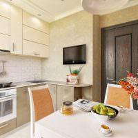 Черный телевизор в дизайне кухонного помещения