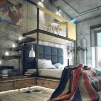 Спальня в два яруса в индустриальном стиле