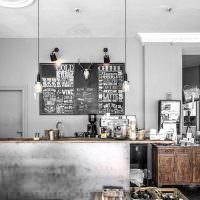Серые стены кухни-гостиной в стиле индастриал