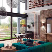 Гостиная загородного дома с панорамными окнами