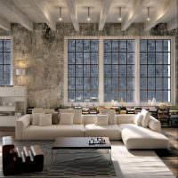Низкий белый диван угловой конфигурации