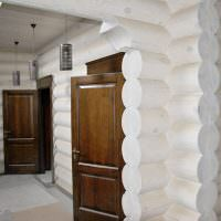 Коричневые двери на фоне белых бревен