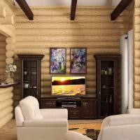 Контрастное сочетание мебели в комнате с бревенчатыми стенами