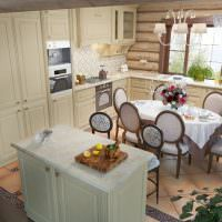 Угловая кухня с обеденной зоной