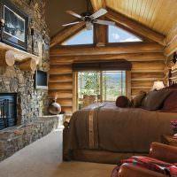 Интерьер спальни с камином в частном доме