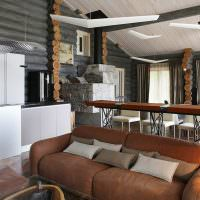 Дизайн кухни-гостиной в доме из бревен