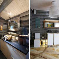 Обустройство санузла в современном доме из бревна