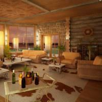 Дизайн гостиной с большими окнами в деревянном доме