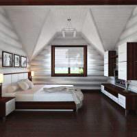 Дизайн белой спальни в мансарде частного дома