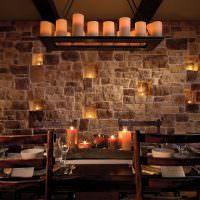 Свечи в интерьере кухни-гостиной