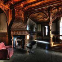 Готическая гостиная в темных тонах