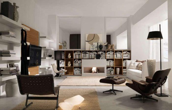Светлая гостиная в стиле итальянского модерна