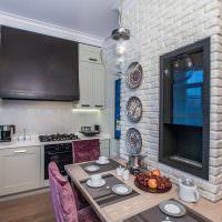 Гарнитур угловой планировки в маленькой кухне