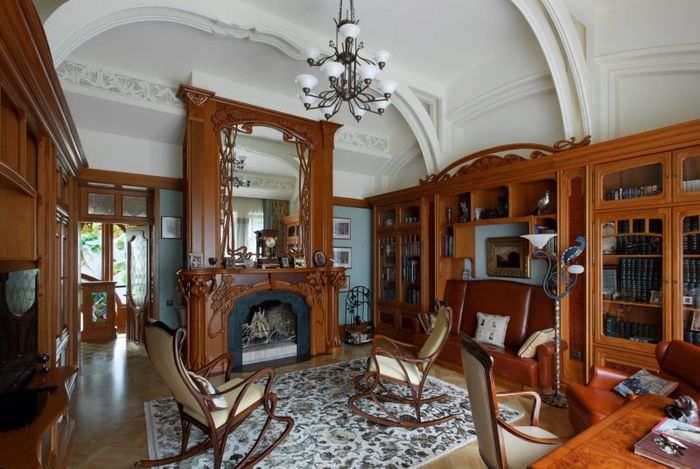 Украшение шерстяным ковром гостиной в стиле модерн