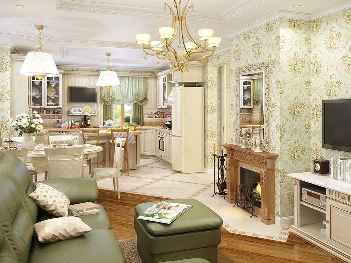 Дизайн кухни-гостиной в стиле классики