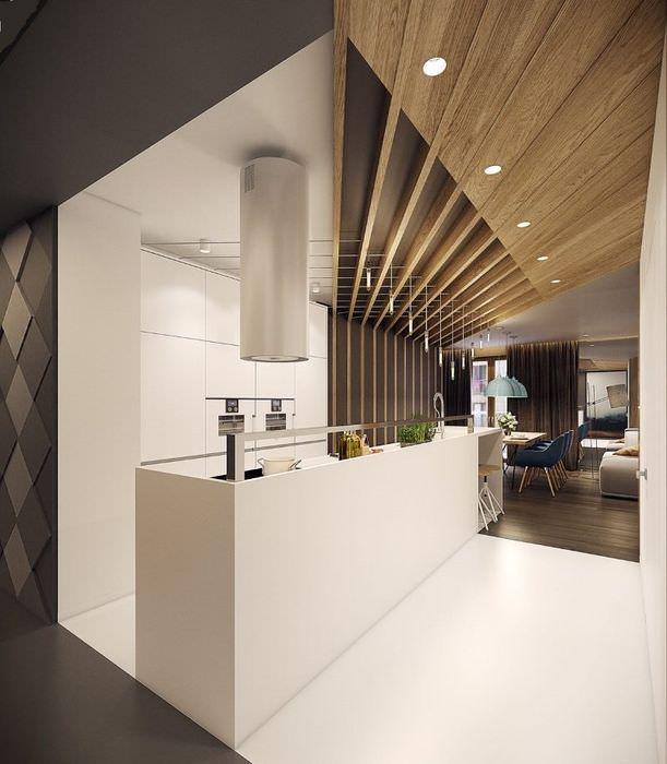 Дизайн кухни с необычным потолком