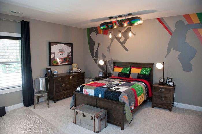 Интерьер комнаты мальчика подростка в серых тонах