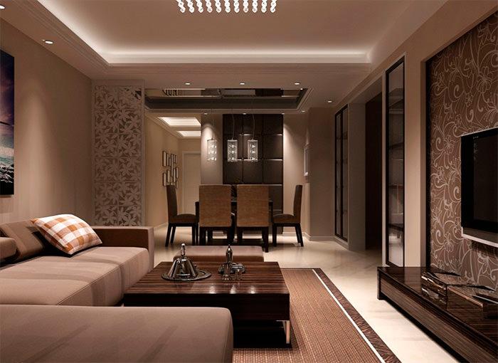 Коричневая мебель в современной гостиной