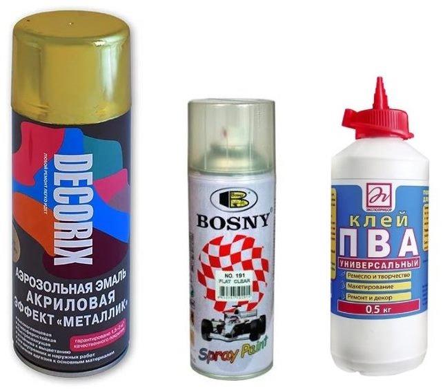 Лак, краска и клей для декупажа стеклянной бутылки