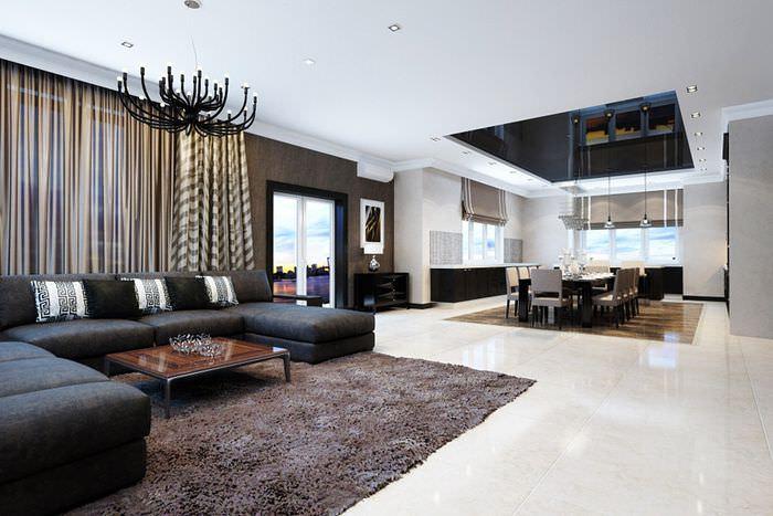 Дизайн большой кухни-гостиной в стиле модерн
