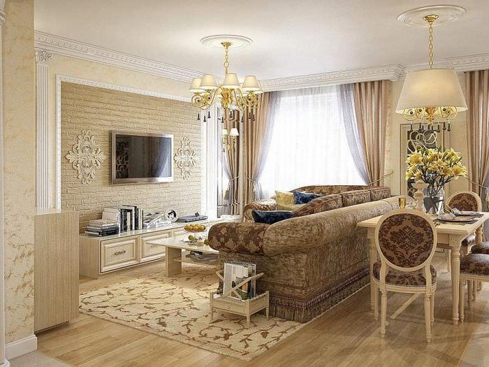 Зонирование гостиной с помощью дивана