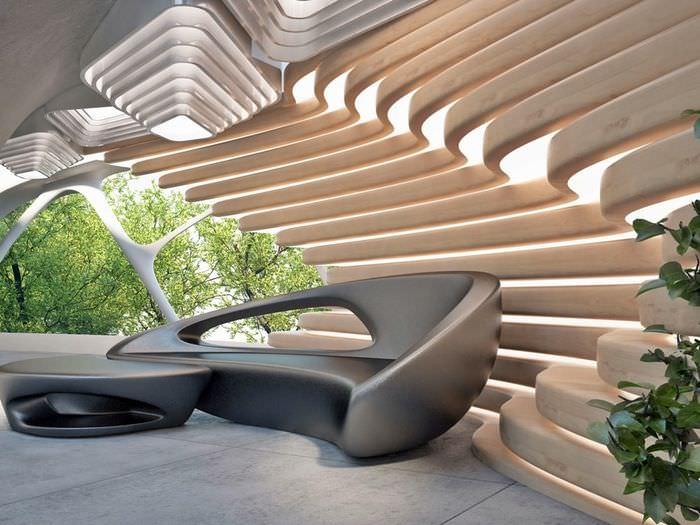 Дизайн зоны для отдыха в стиле бионика