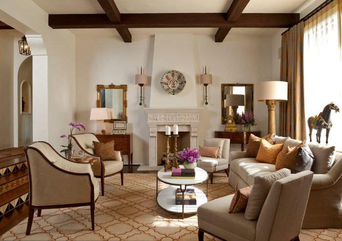 Оформление зоны отдыха гостиной в итальянском стиле