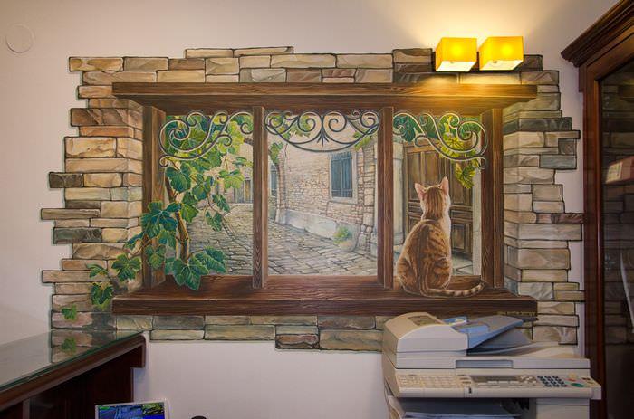 Нарисованное окно на стене жилой комнаты